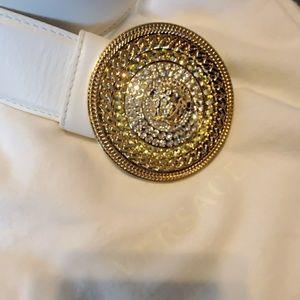White/rhinestones versace belt